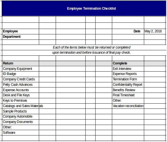 Termination Checklist Template – 12+ Free Word, Excel, Pdf