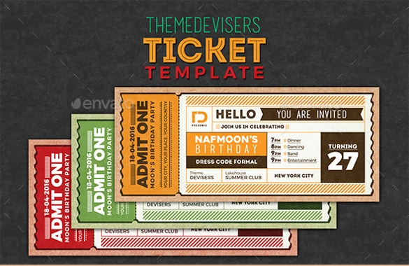 invitation ticket coupon template psd download