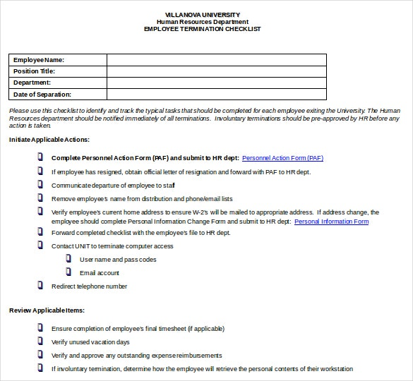 Employee Termination Checklist DOC Format Download  Employee Termination Template