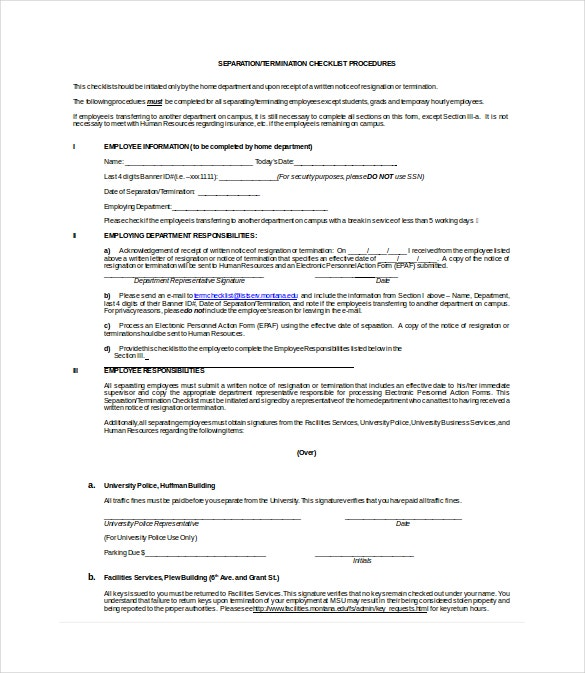 separation termination checklist doc format template download