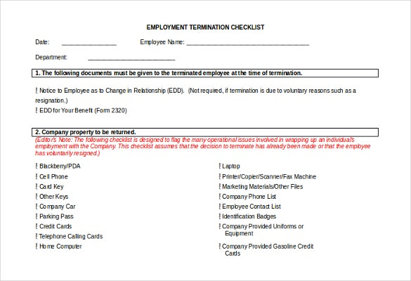 doc format of employment termination checklist template download