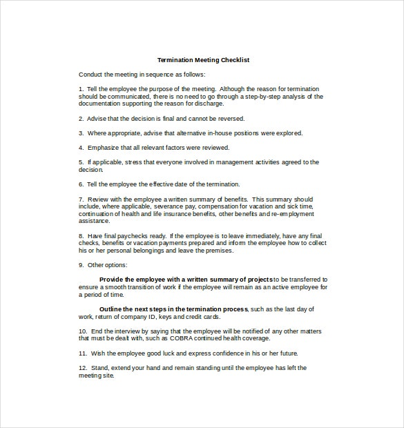termination checklist template  u2013 12  free word  excel  pdf
