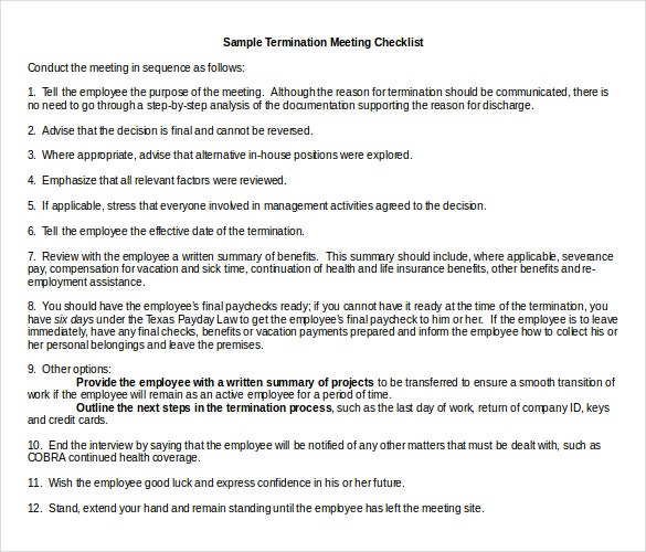 sampletermination meeting checklist doc format template download