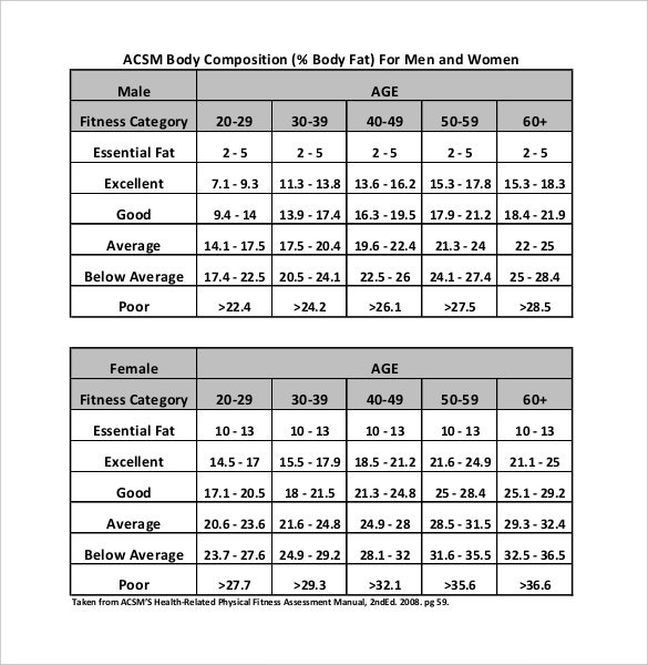 body fat composition chart word document