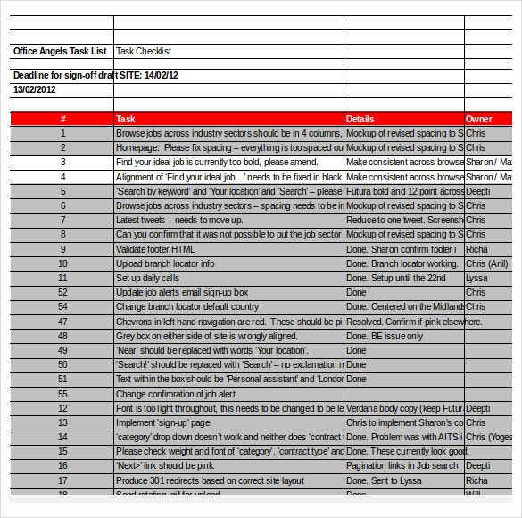 task checklist excel format template download