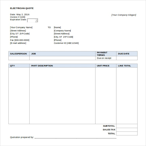 free download electrician quotation template word format