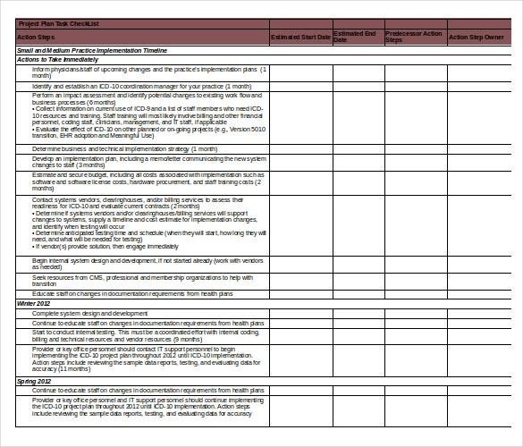 project plan task checklist excel format template download