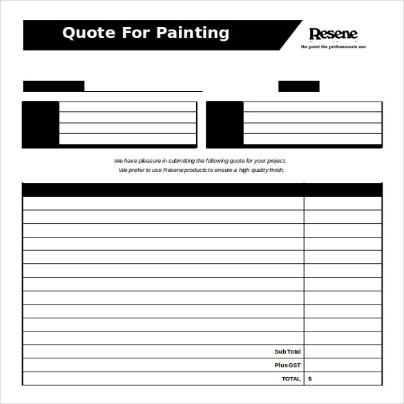 Painting Quotation Form Free Word Format Template  Free Download Word Template
