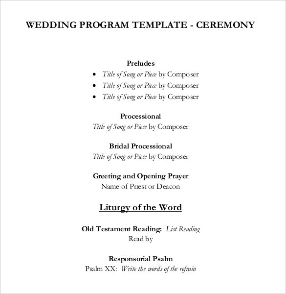 wedding program template for wedding ceremony