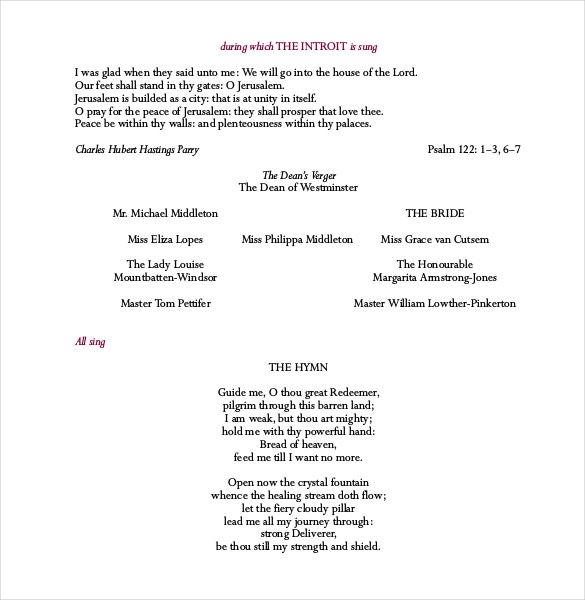 royal wedding program template pdf format