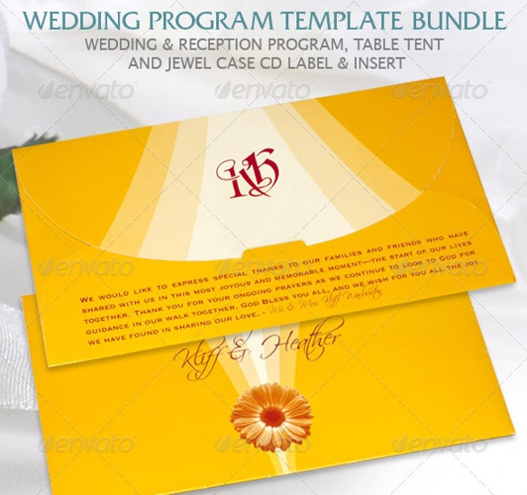 envelope style wedding program bundle template premium psd