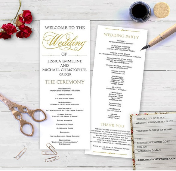 friendly budget editable color and text wedding program psd template