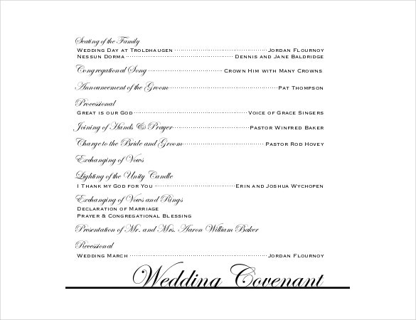 Vintage Wedding Program Pdf Templates Free