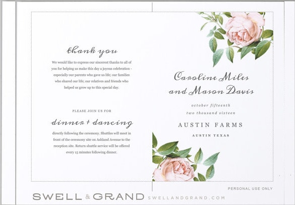Wedding Program Templates – 15+ Free Word, Pdf, Psd Documents