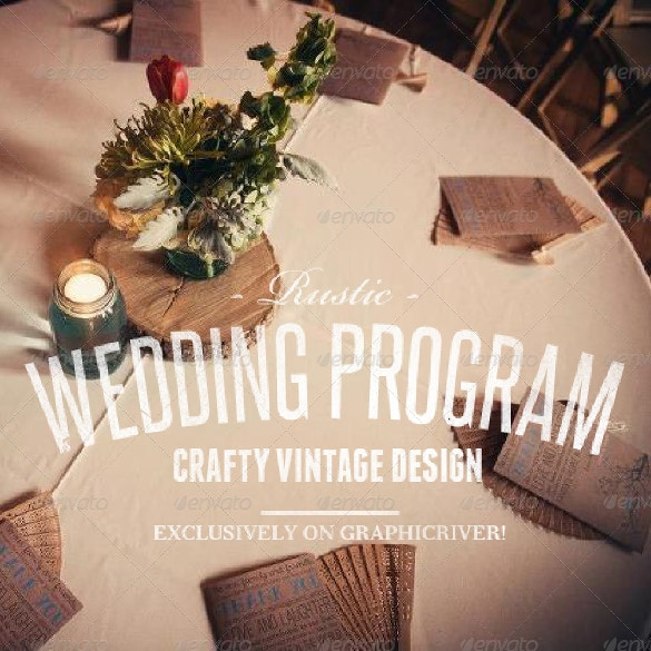 rustic wedding program template psd format download