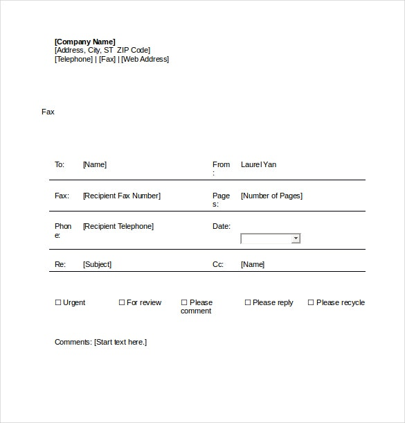 fax cover sheet word document free download