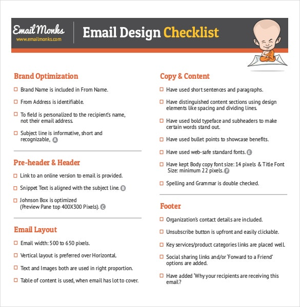 pdf document for email design checklist