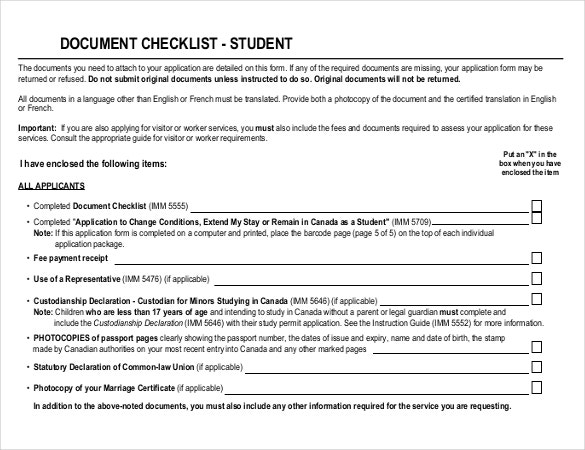 student document checklist pdf template download
