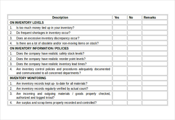 inventory audit checklist free word document download