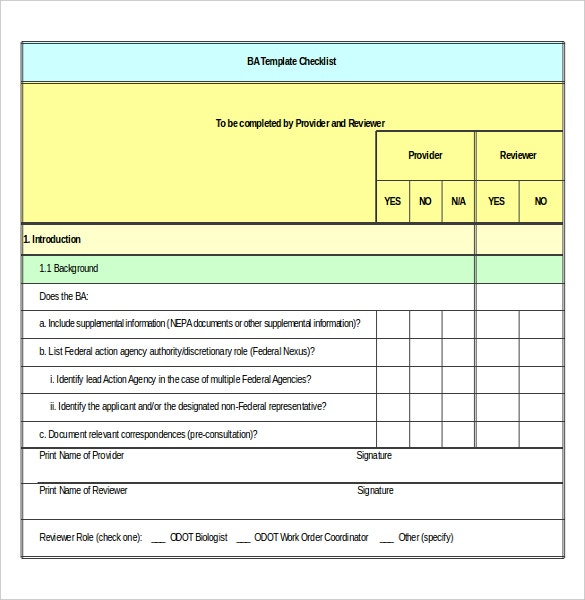biological assessment evaluation checklist free excel download