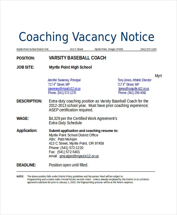 baseball coach resume - Coaching Resume Template