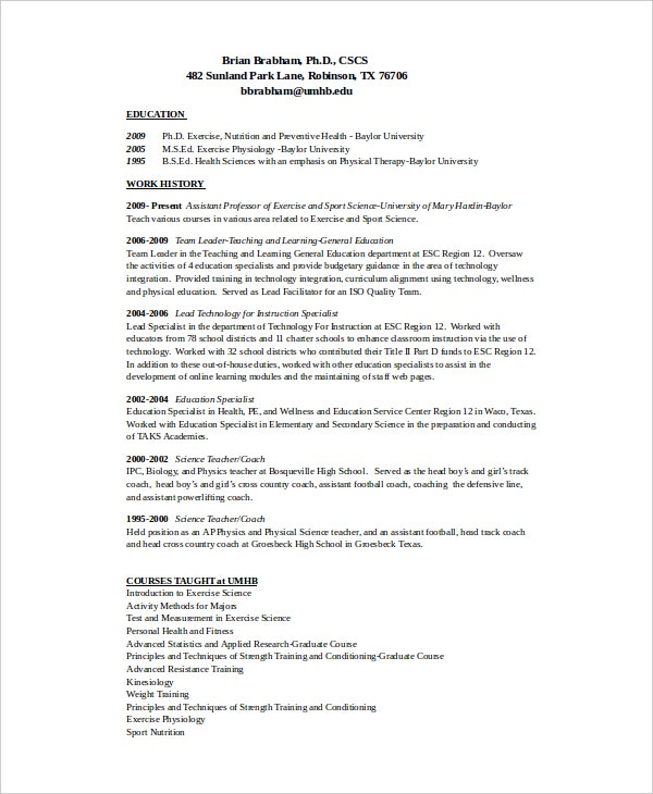 resume for basketball coach college