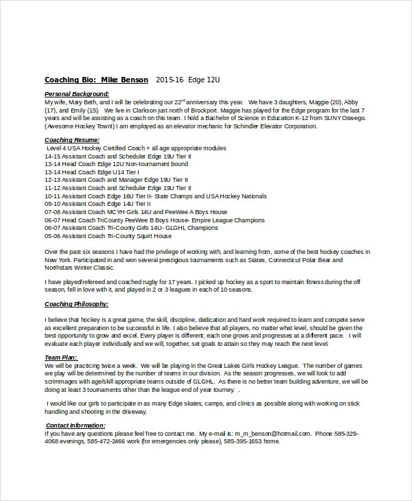 sample resume for volleyball coach