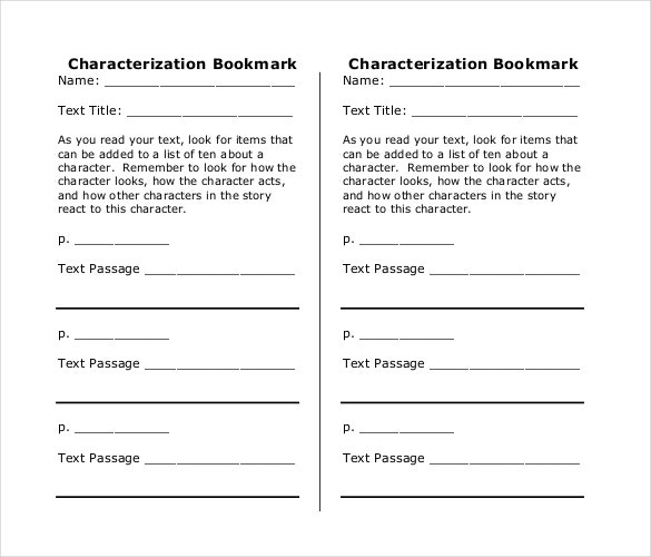 characterization bookmark template in pdf