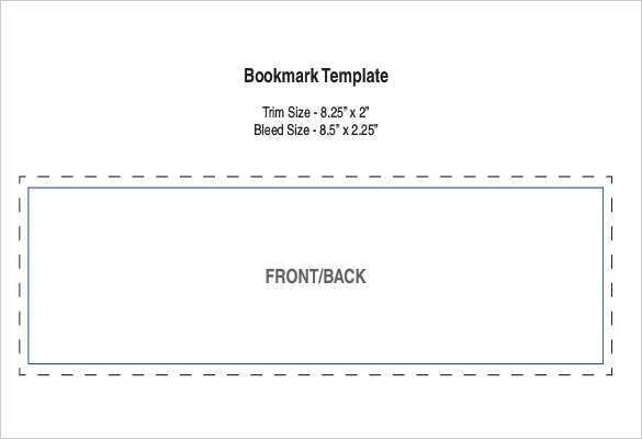 bookmark template front and back format download