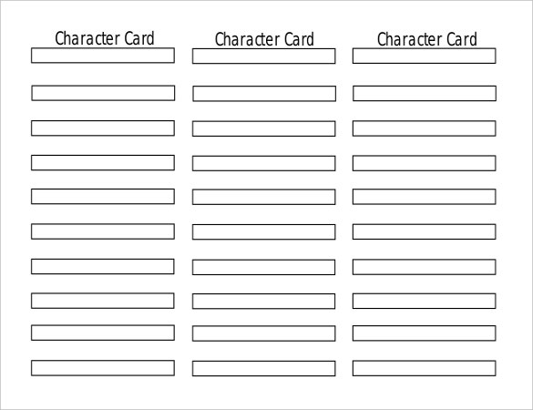 character card bookmark template in pdf