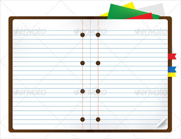 notebook with bookmark and notepads