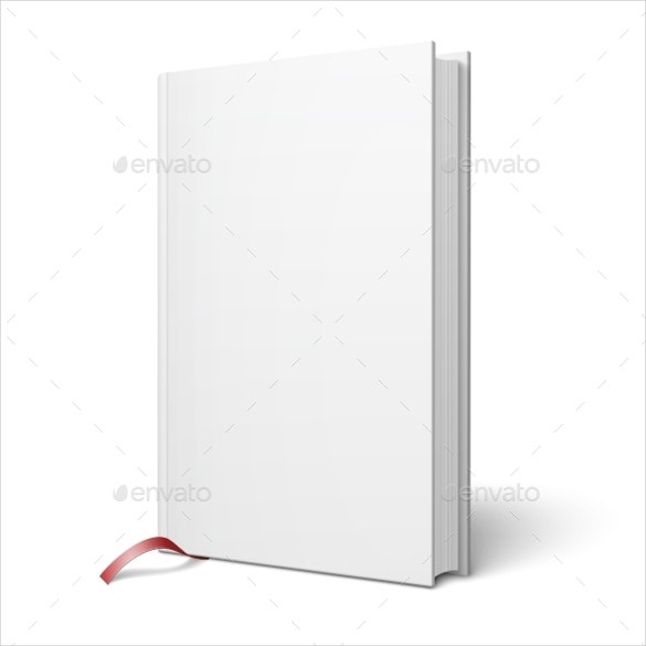 blank vertical book with bookmark template