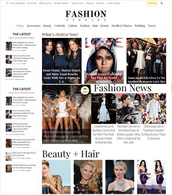 fashion beauty magazine wordpress blog theme