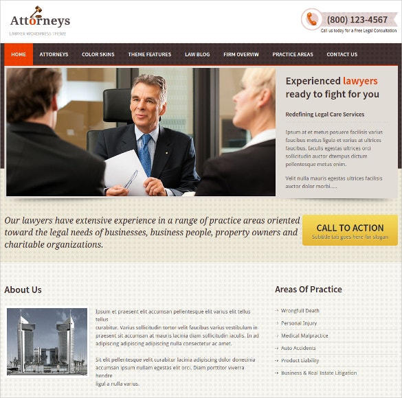 Attorneys & Law Firm WordPress Website Theme $35