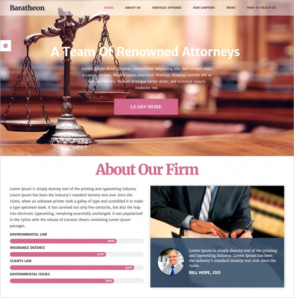 Law Firm & Advocate WordPress Website Theme $44