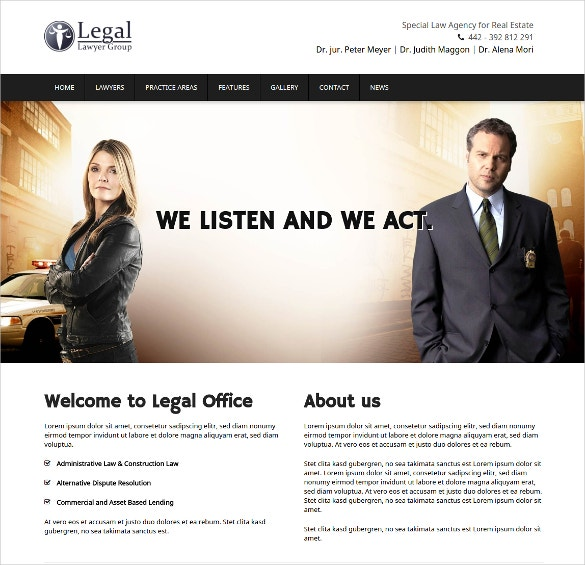 Law Firm Counselor & Attorneys WordPress Website Theme $69