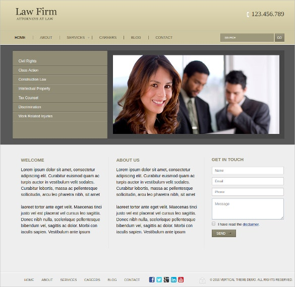 Professional New Law Firm WordPress Website Theme $50