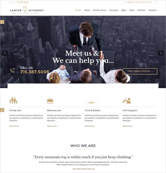 Finance Law Firm WordPress Website Theme $49