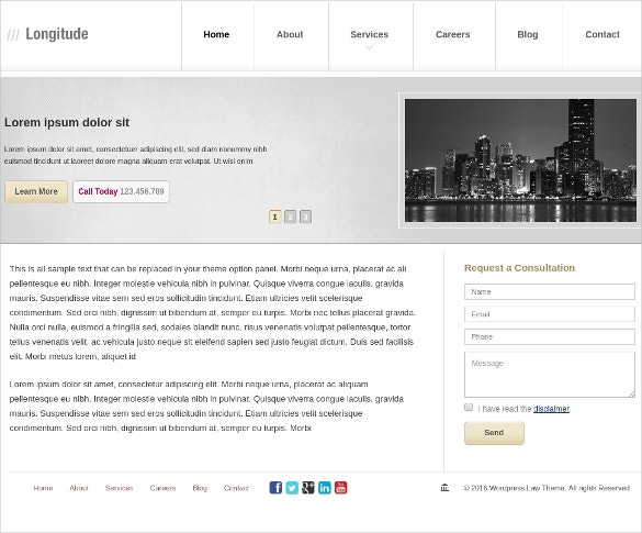 Modern Law Firm WordPress Website Theme $50