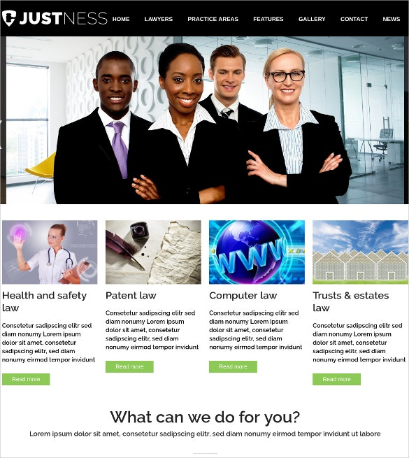 Responsive Lawyer & Law Firm Website WordPress Theme $69