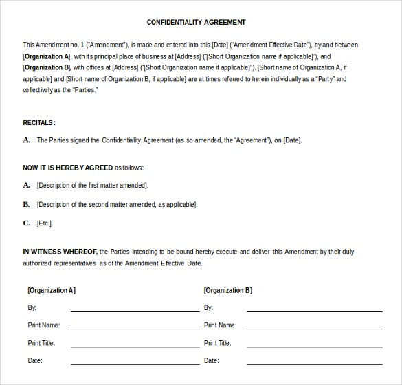 confidentiality agreement word 2010 format template free download