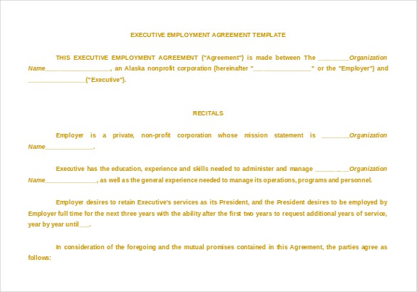 Executive Agreement Word Format Free Download Template