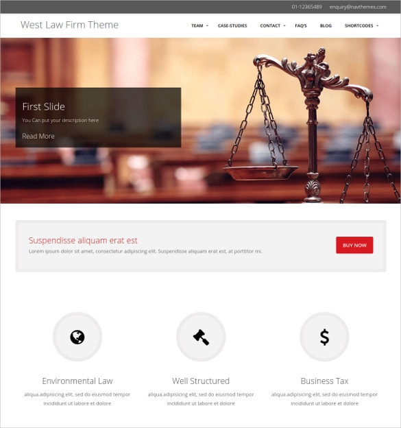 Multipurpose Law Firm WordPress Website Theme $59