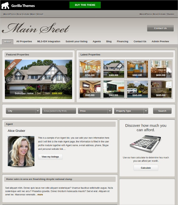 professional real estate agent mortgage wordpress theme 49