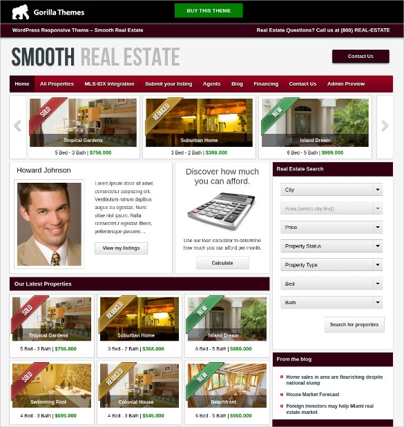 real estate agent mortgage integration wordpress theme 49