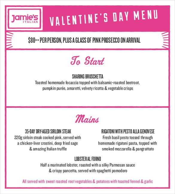 valentines day special menu program template pdf