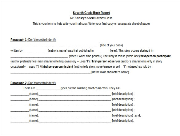 ms word format book report template free download1
