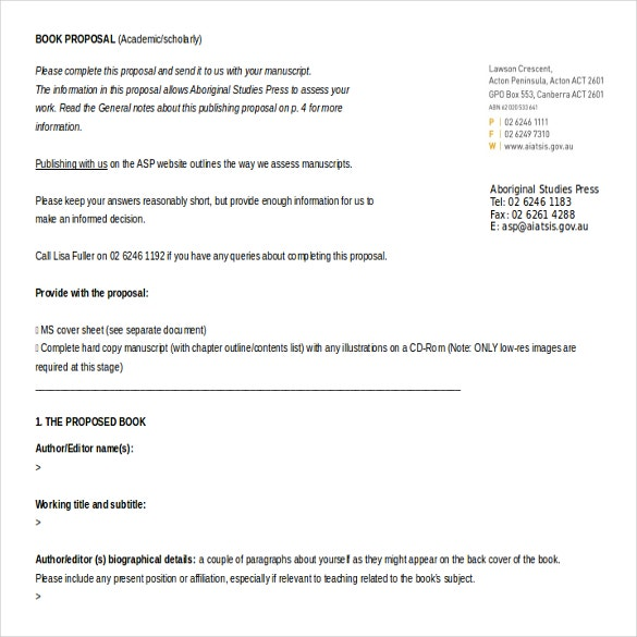 book proposal template free download ms word1