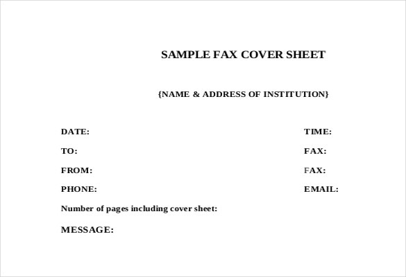 sample cover sheet free download