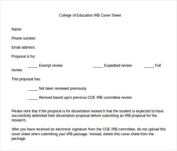 college of education irb cover sheet template download in word document